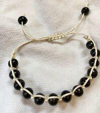 Shamballa bracelet with white cord and black beads, adjustable bodhi bracelet