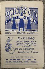 More details for coventry city v sheffield wednesday 1951/52