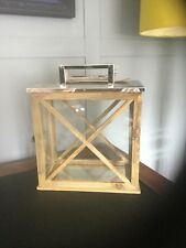 Chrome and Wood Lantern Candle holder
