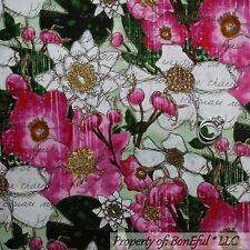 BonEful Fabric FQ Cotton Quilt Green White Pink Flower Magnolia Tree Leaf Scenic