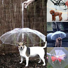 Waterproof Transparent Pet Dog Umbrella Protect From Rain Built-in Leash Hook