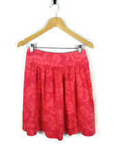 REVIEW Skirt - Vintage Retro Style Pleated A-Line Pink Cotton Floral Roses - 8/S