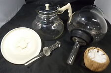 VINTAGE CORY VACUUM COFFEE POT LID GLASS ROD & CERAMIC FILTER PLUG & CLOTH VGC