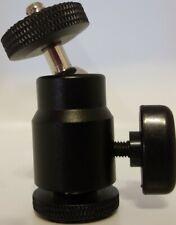 "MOUNT HOLDER DSLR CAMERA TRIPOD 360° SWIVEL MINI BALL HEAD 1/4"" SCREW BLACK NEW"