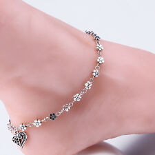 Flower Anklet Attached Toe Ring Heart Dangle Ankle Bracelet Women Silver NEW