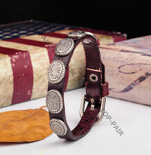 JS51 Metal Studded Single Band Leather Bracelet Wristband Cuff Mens Unisex BROWN