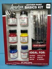 Angelus Brand Leather Paint Basics Kit with Deglazer and Paint Brush Set  - NEW