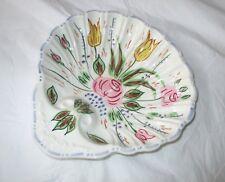 "9"" Blue Ridge NOVE ROSE Shell-Shape Serving Bowl, Pink Yellow Flowers, Blue Trim"