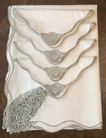 Vintage Machine-made Schiffi Lace Tablecloth w/ 4 Matching Napkins Beige
