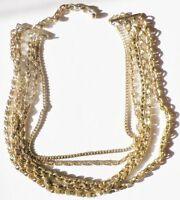 collier bijou vintage fantaisie 5 rangs de chaines déco * 5222