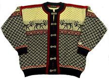 NORDSTRIKK Sweater Norway 100% Wool L Knit Cardigan Ski REINDEER Clasps Womens