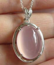 .925 STERLING SILVER GENUINE PINK CHALCEDONY  PENDANT / NECKLACE