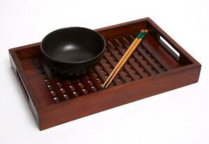 Small Japanese style lattice dark wooden serving tray with handles