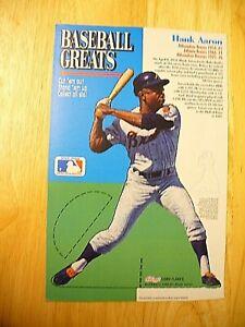 MLB - Kellogg's Baseball Greats cut-out (Hank Aaron) - VINTAGE