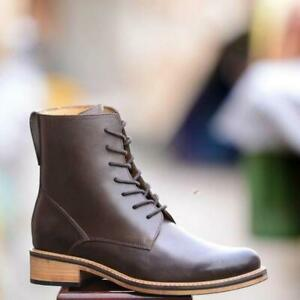 Handmade Leather Men Ankle Lace up Boots, Men Brown Combat Boot