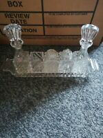 Vintage Cut Glass Condiment/Cruet Set with glass tray