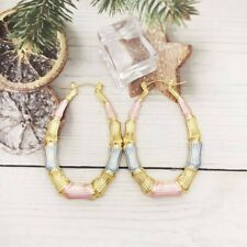 18k Layered Real Gold Filled Oval bamboo Hoop Earring Multi Colors 60mm
