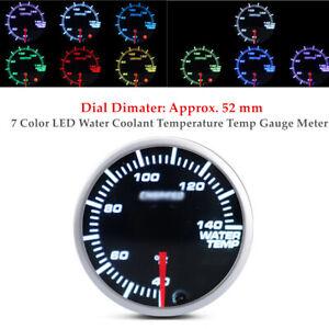 DC 12V 52mm Black 7 Color Car LED Water Coolant Temperature Temp Gauge Meter
