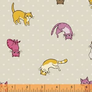 Caturday Kitty Toss fabric 42948-2 by the 1/2 yd. cats polka dots pink yellow