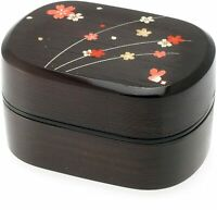 Japanese Bento Box Lunch Container Double Tier Layered Black Red Sakura Blossom