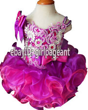 Infant/toddler/baby Crystals Pageant Glitz Dress Purple/Pink 12~18 months G269