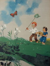 ILLUSTRATION D ARMAND RAPENO 1949 LE GRILLON LES ENFANTS ET LE PAPILLON
