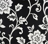 White on Black Floral Wallpaper-Double roll