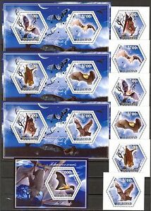 Chad 2014 Animals Bats set of 6 + 4 S/S MNH** Privat !