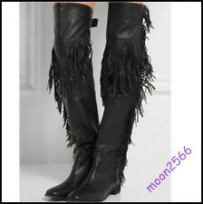Vogue Ladies Vintage Tassel Leather Over The Knee High Boot Fringe Shoes Cowboy