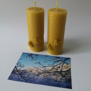 Beeswax Candles 2 x 13cm Large Natural Gift Handmade Home Decor Eco Candle