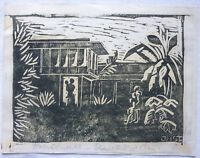 Linoldruck wohl vor 1945 Kolonialmotiv sign. JHST ca. 15 x 11,5 cm