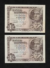 F.C. PAREJA CORRELATIVA 1 PESETA 1948 , SERIE O , S/C- , LATERAL MANCHADO .