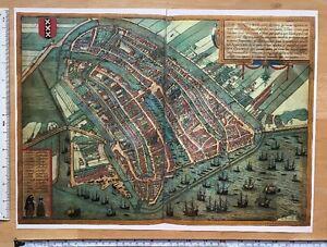 Antique Map Amsterdam, Netherlands: 1572 Braun & Hogenberg REPRINT 1500s Tudor