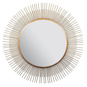 Pinnacle Wall Mirror 36 in. H x 36 in. W Contemporary Durable Framed Metal Gold