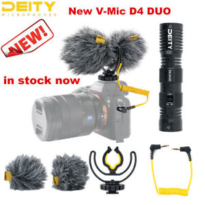 New Deity V-Mic D4 Duo Dual Cardioid AUX Input Low Noise Microphone fr Vlog DLSR