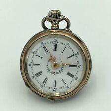 Antique Cylindre Remontoir 10 Rubis 800 Silver Ladies OF Pocket Watch 4/0s Runs
