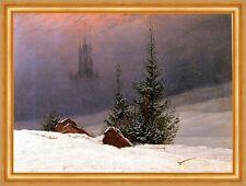 Winterlandschaft mit Kirche Schnee Romantik Bütten Caspar David Friedrich A3 035