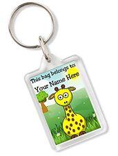 Personalised Kids Childs School Bag Tag Animal Keyring With Giraffe AK82