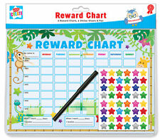 6 Jungle Themed Childrens Reward Charts with Star Stickers & Pens by Kids Create