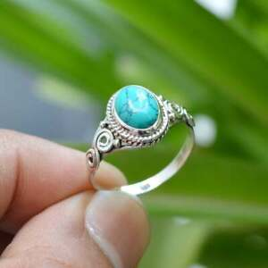 Solid 925 Sterling Silver Natural Turquoise Gemstone Ring Handmade Ring Q82