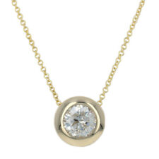 "Yellow Gold Diamond Pendant Necklace 17 3/4"" - 14k Round Brilliant Cut 1.00ct"