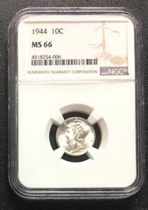 1944 Mercury Silver Dime NGC MS66 - ENN COINS #006