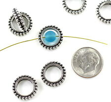 Round Bead Frames, 8mm, TierraCast, Antiqued Silver Plate, 4 Pieces