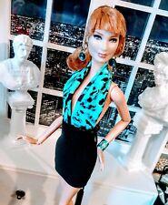OOAK Barbie size  Casual Chic Black n Blue  day dress ensemble!  LAST ONE !
