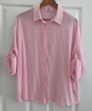 Mela Purdie Size 12 Soft Pink Button Down Blouse Technical polyester.