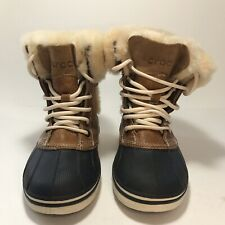 Crocs Womens Allcast Luxe Duck Boots Size 4 Lined Fur Trim
