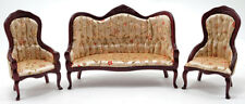 Miniature Dollhouse Victorian Sofa & Chair Set Mahogany Floral 1:12 Scale New
