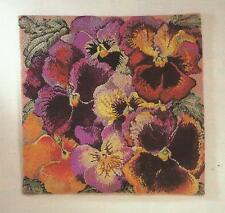 "EHRMAN ""PANSIES PANEL"" Needlepoint Kit by Elian McCready - XTRA LARGE & STUNNING"