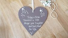 Mother of the Bride wooden heart sign keepsake gift Mum chic plaque sign vintage
