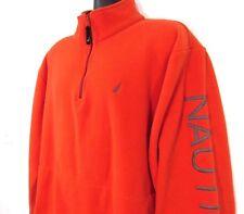 Nautica Men's Pullover Fleece Large Orange Gray Sailboat Sleeve Spellout 1/4 Zip